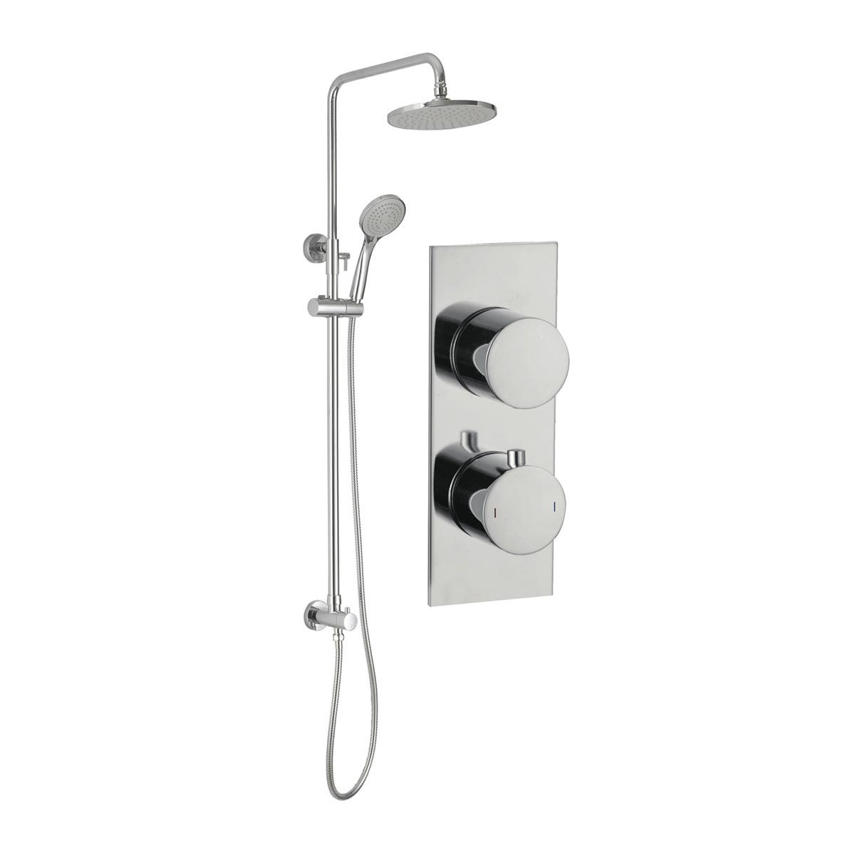 BTL Sphere Slim Plate Chrome Twin Concealed Mixer Shower with Handset and Fixed Head