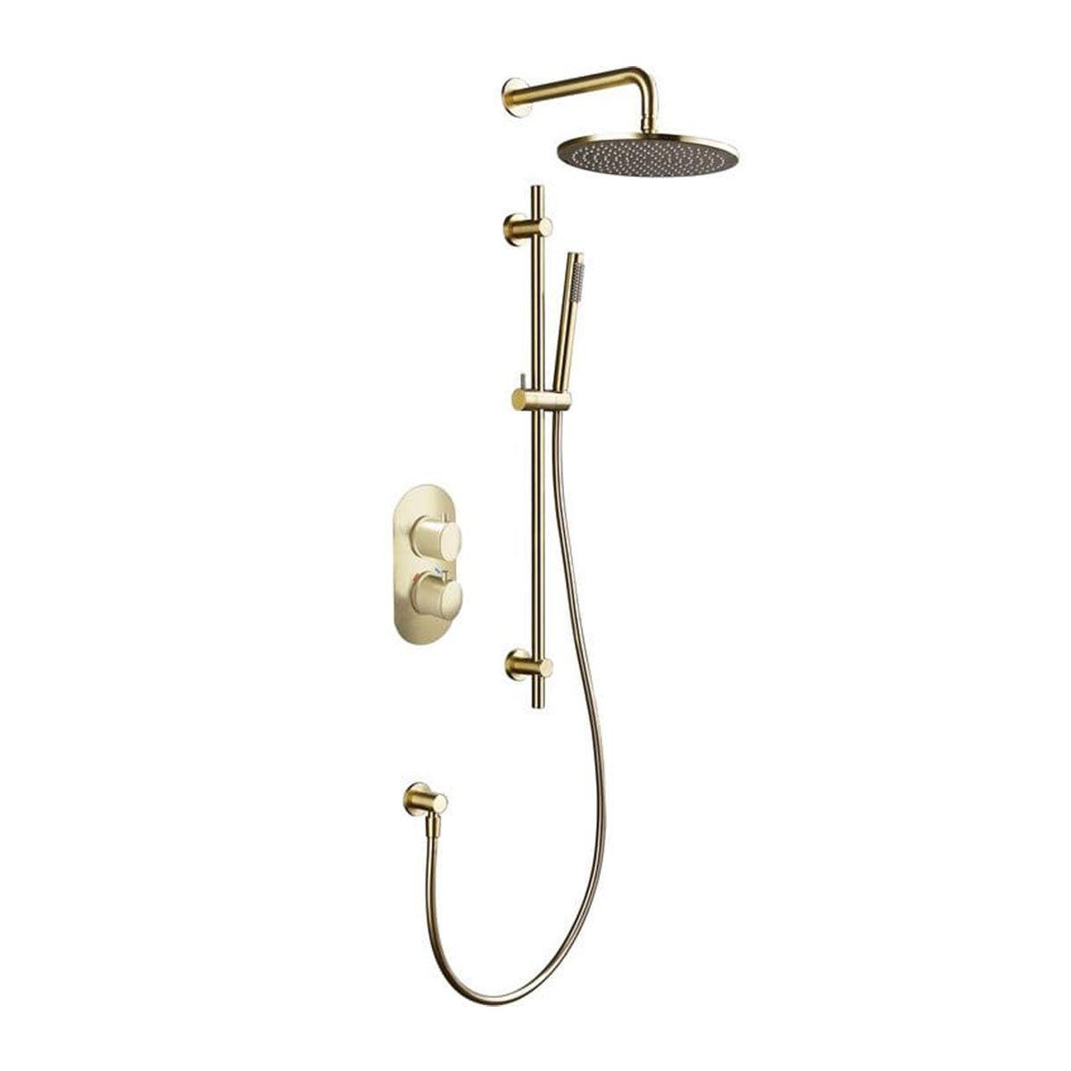 BTL Thermostatic Brushed Brass 2 Outlet Shower Pack with Riser and Overhead