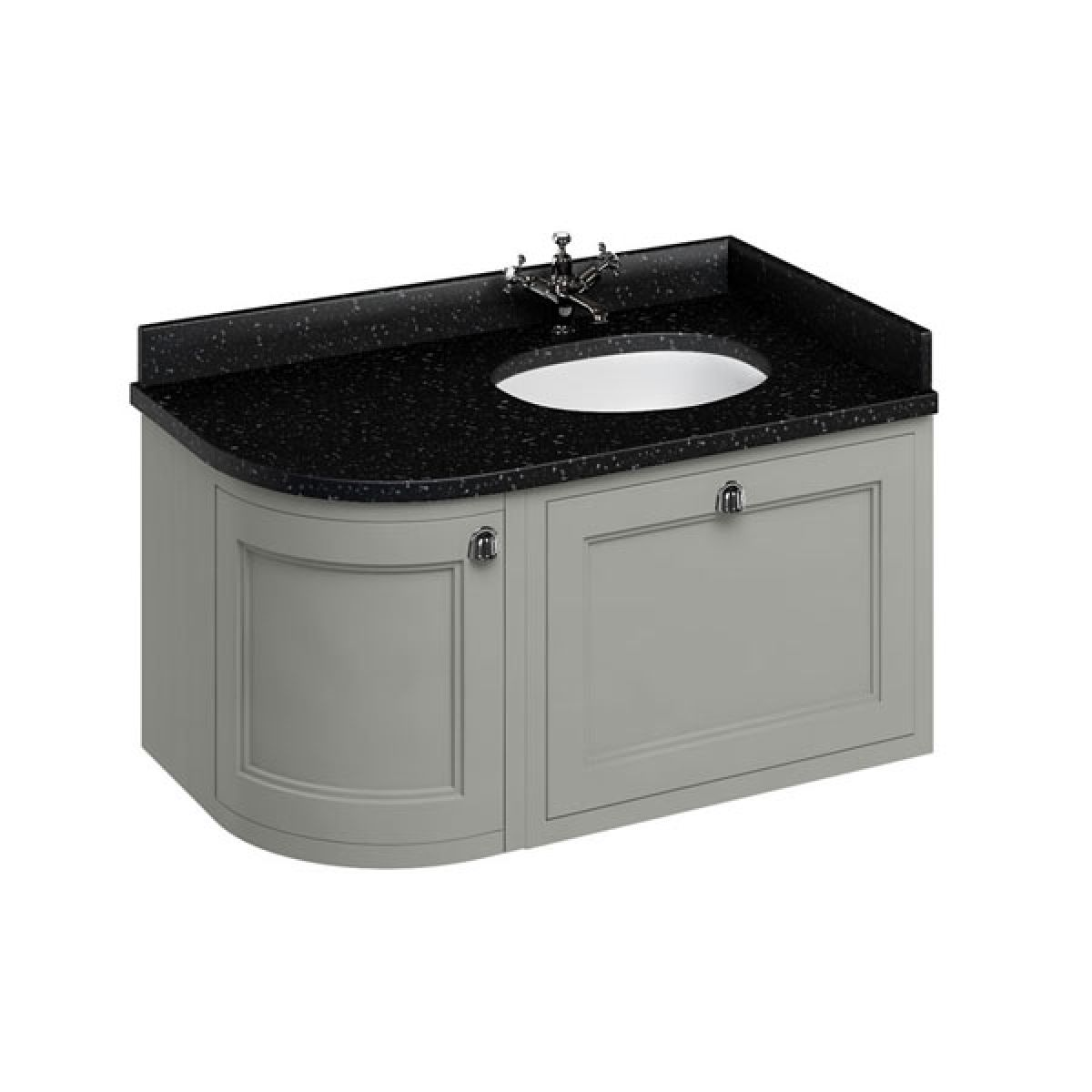 Burlington Dark Olive Wall Hung Curved Right Hand Vanity Unit 1000mm (Black)