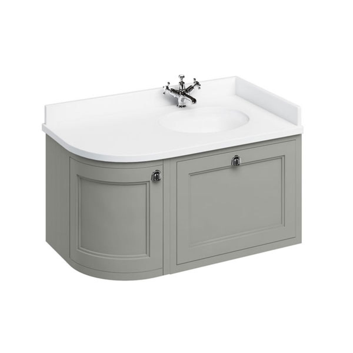 Burlington Dark Olive Wall Hung Curved Right Hand Vanity Unit 1000mm (White)