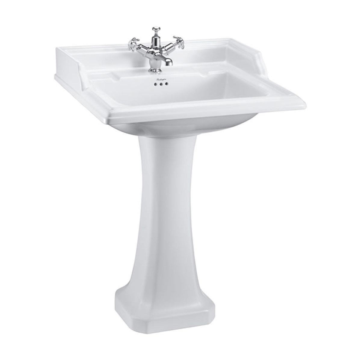 Burlington Classic Square Basin with Full Pedestal 650mm