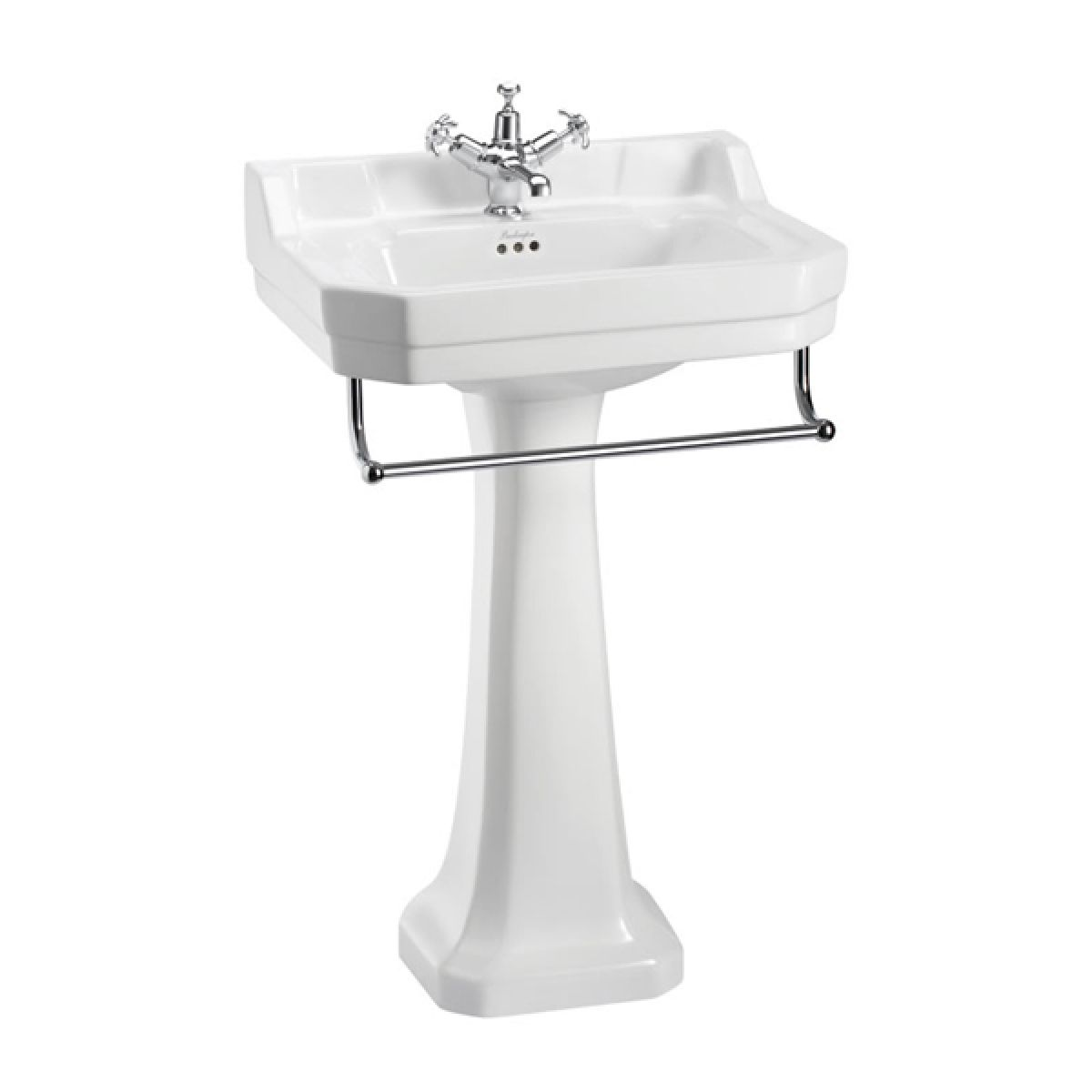 Burlington Edwardian Basin and Full Pedestal with Towel Rail 560mm