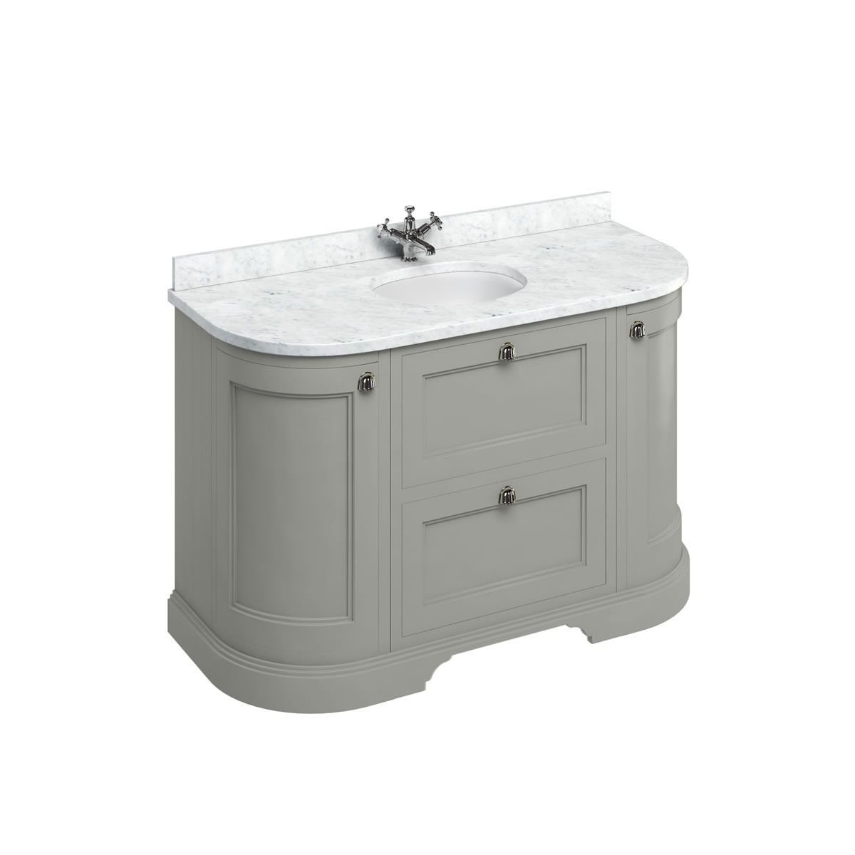 Burlington Dark Olive Freestanding Round Vanity Unit 1340mm Minerva White