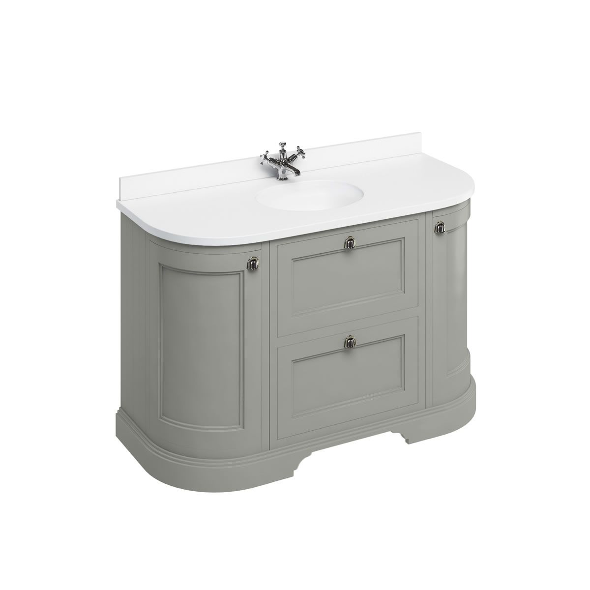 Burlington Dark Olive Freestanding Round Vanity Unit 1340mm Carrara White