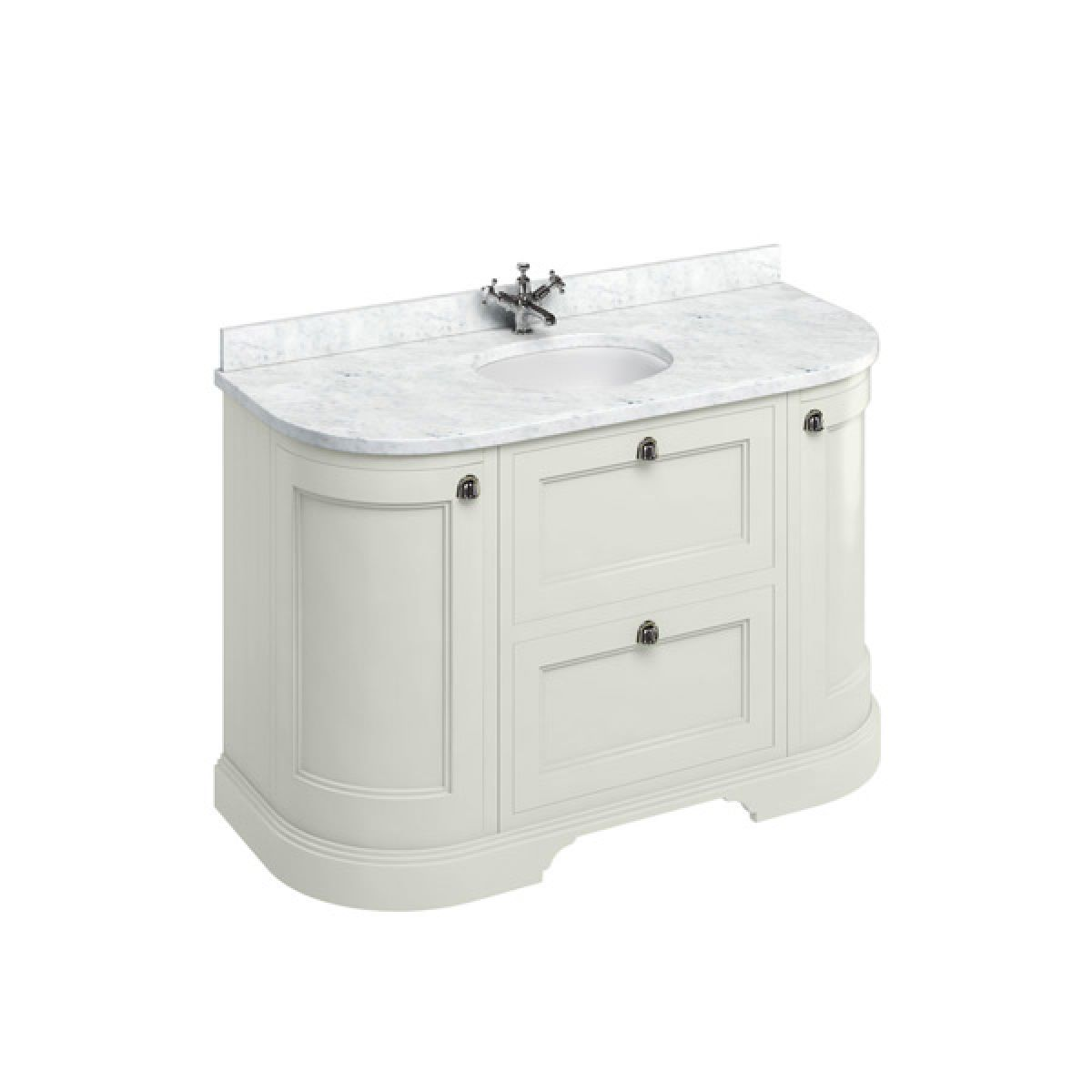 Burlington Sand Freestanding Round Vanity Unit 1340mm Carrara White