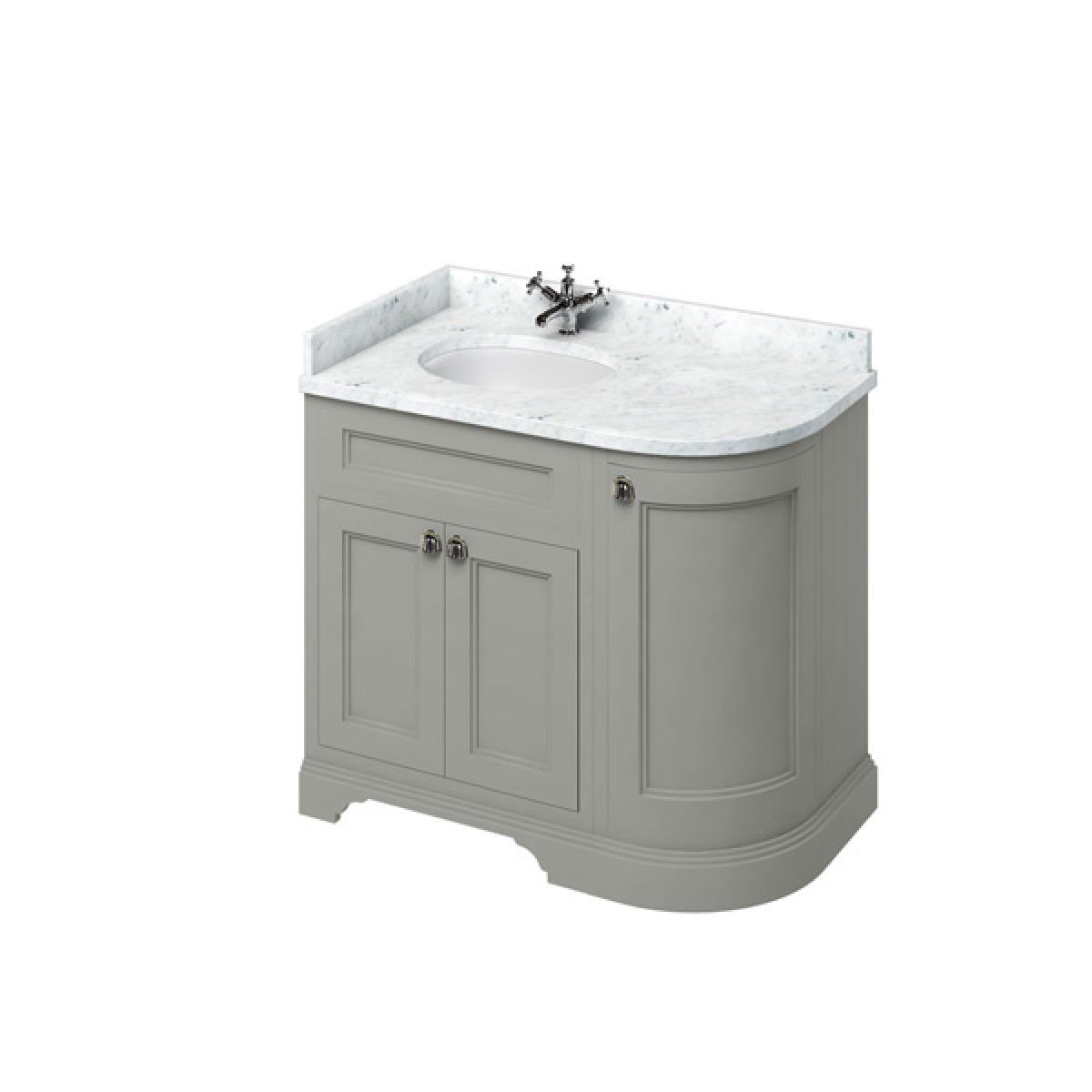 Burlington Dark Olive Freestanding Left End Round Vanity Unit 980mm Carrara White