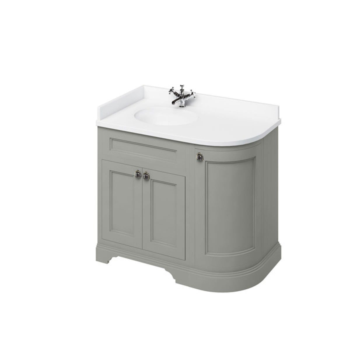 Burlington Dark Olive Freestanding Left End Round Vanity Unit 980mm Minerva White