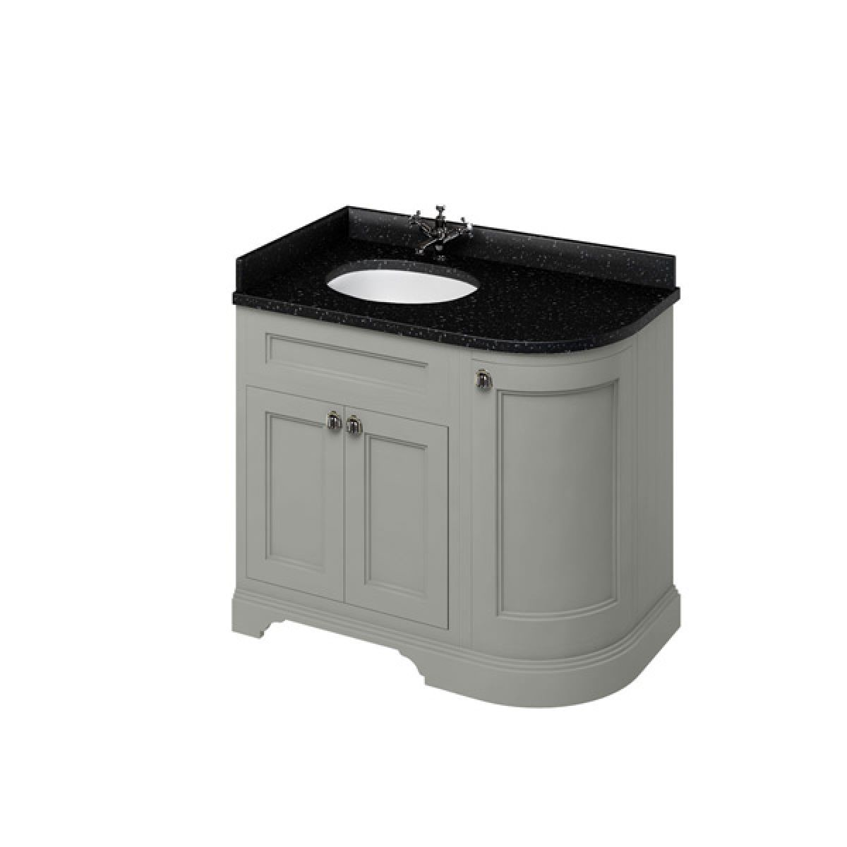 Burlington Dark Olive Freestanding Left End Round Vanity Unit 980mm Granite Black