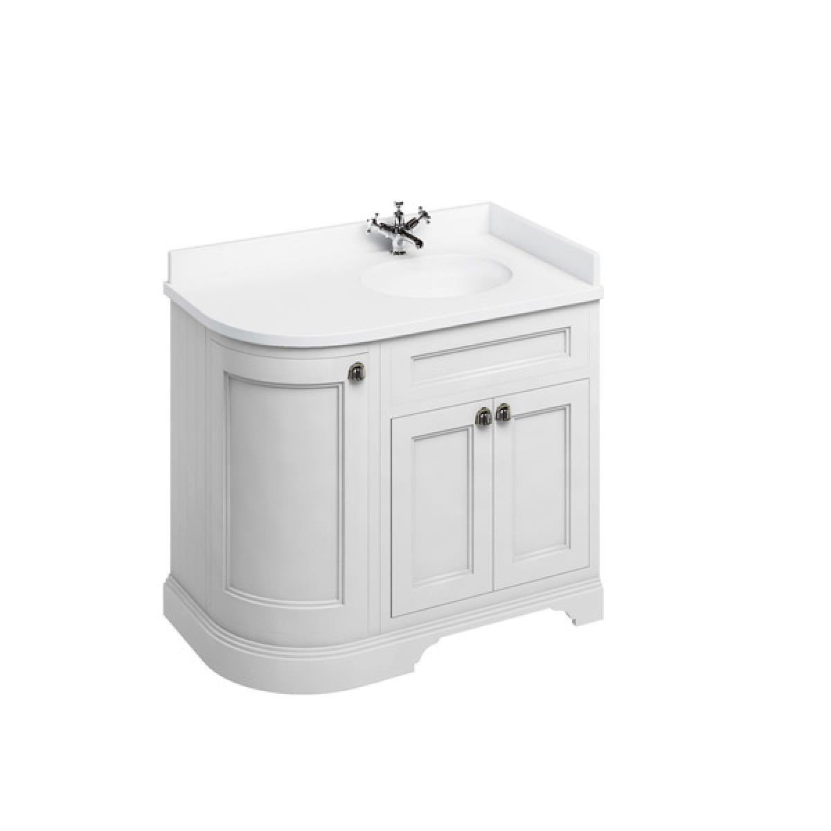 Burlington Matt White Freestanding Right End Round Vanity Unit 980mm Minerva White