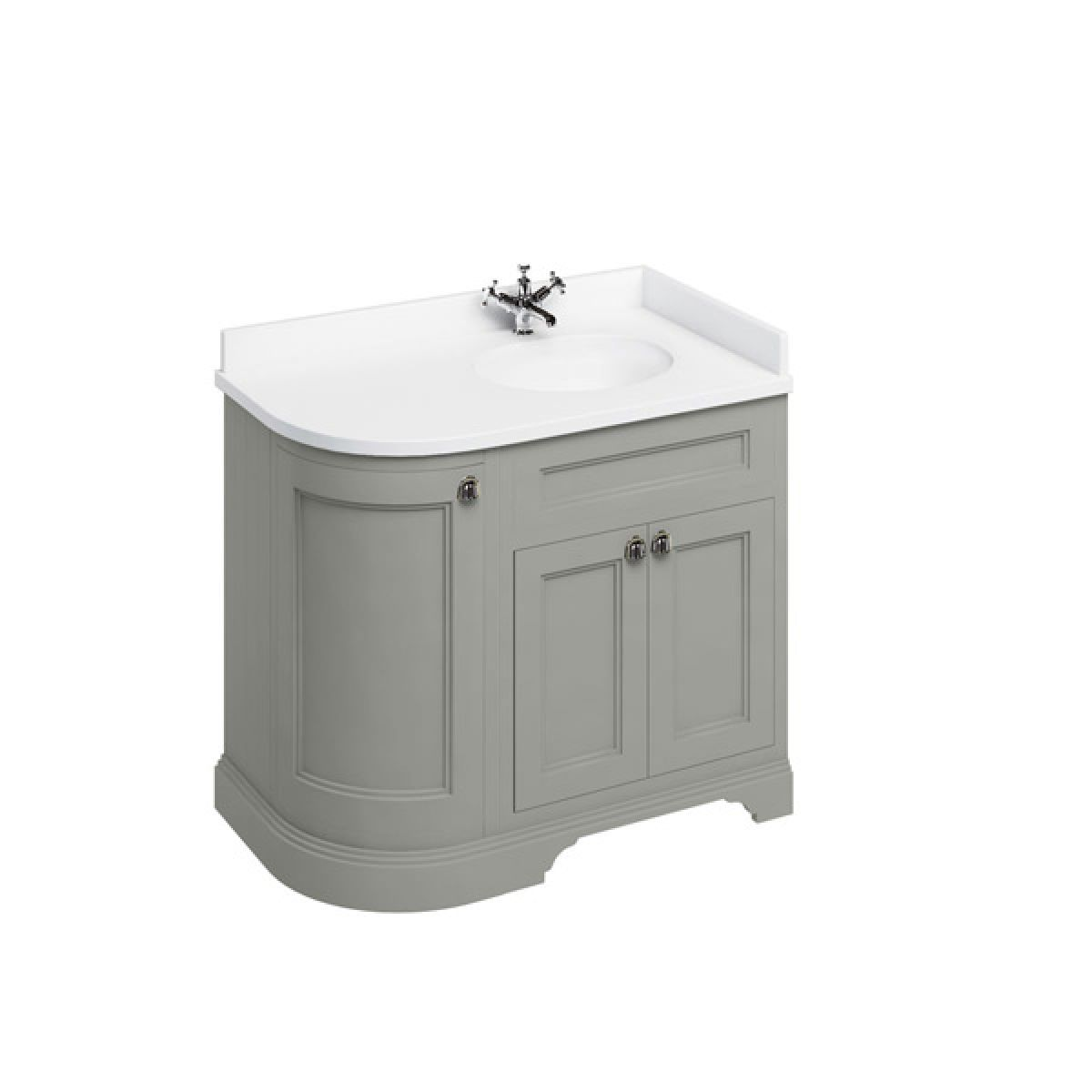 Burlington Dark Olive Freestanding Right End Round Vanity Unit 980mm Minerva White