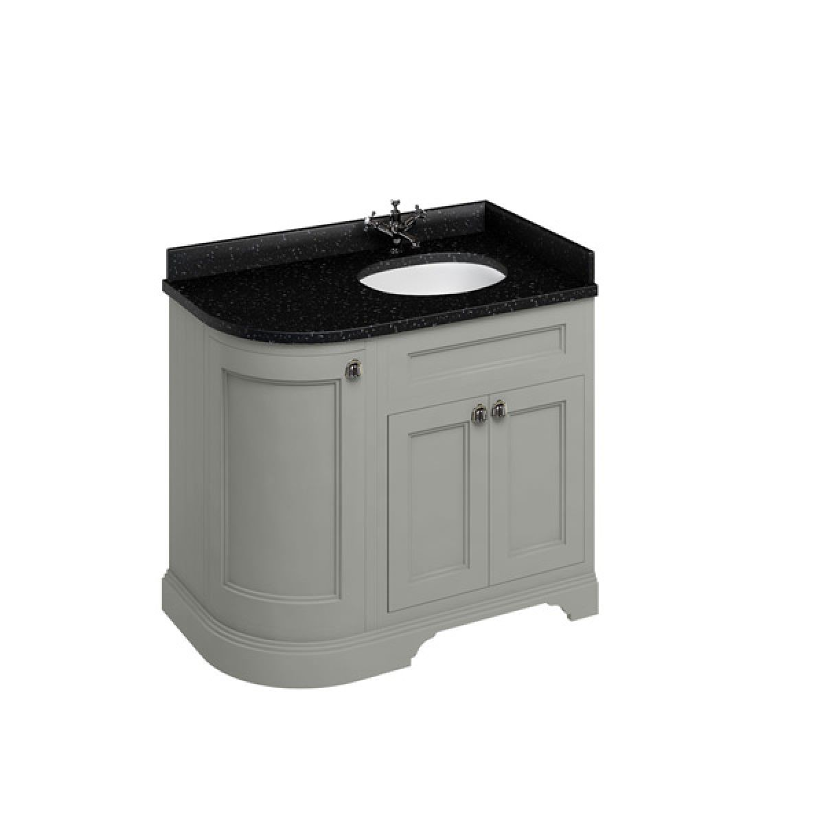 Burlington Dark Olive Freestanding Right End Round Vanity Unit 980mm Granite Black