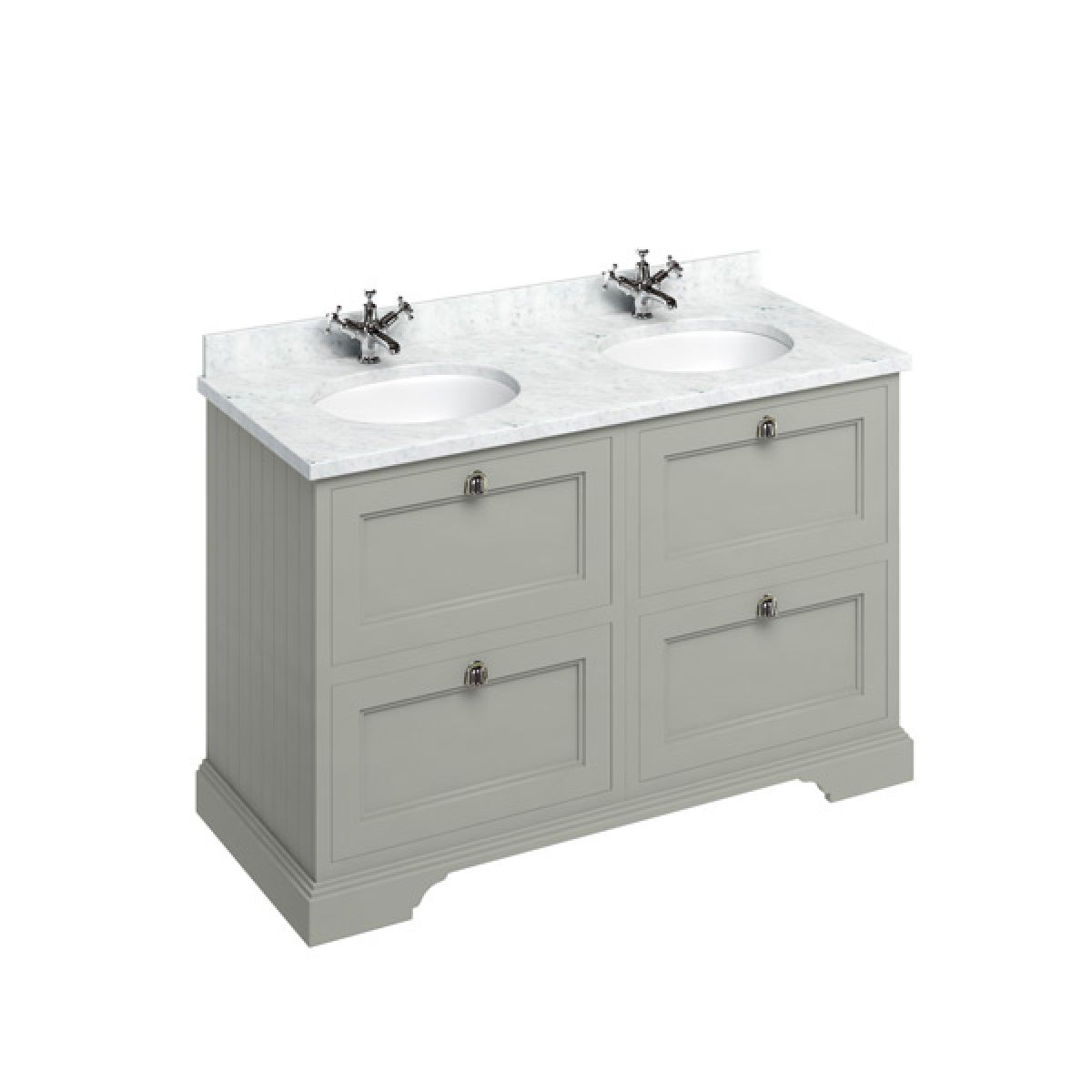 Burlington Dark Olive Freestanding Vanity Unit 1300mm Carrara White