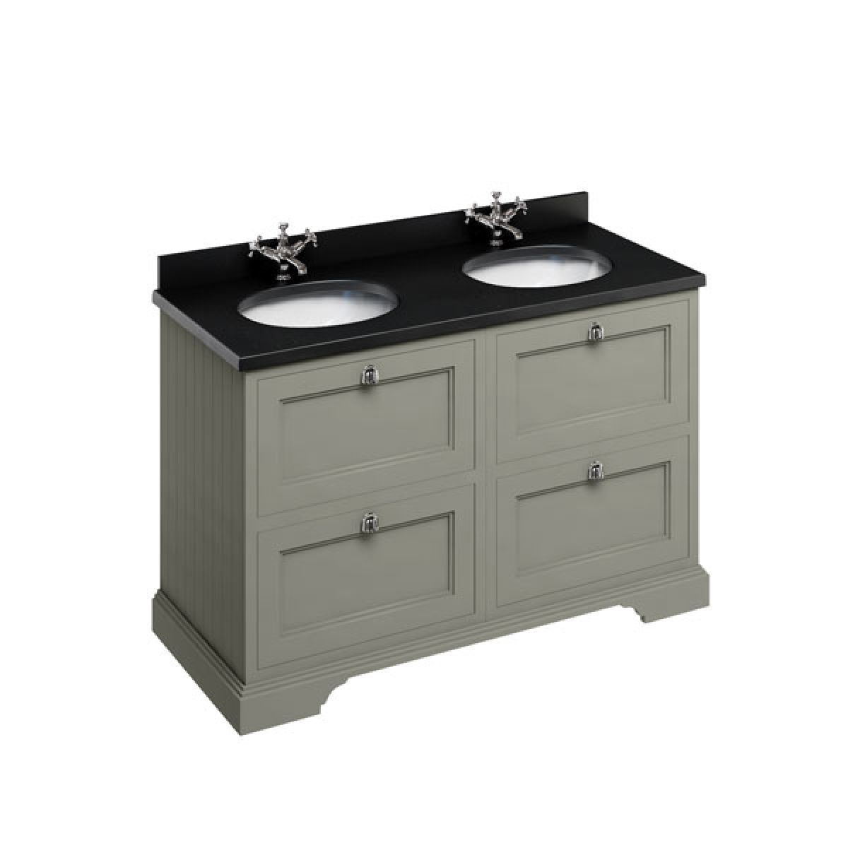 Burlington Dark Olive Freestanding Vanity Unit 1300mm Black Granite