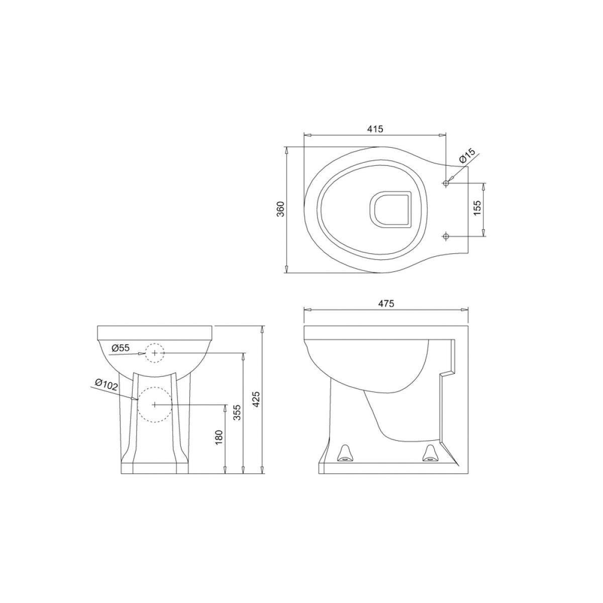 Burlington Jet Back To Wall Toilet Dimensions