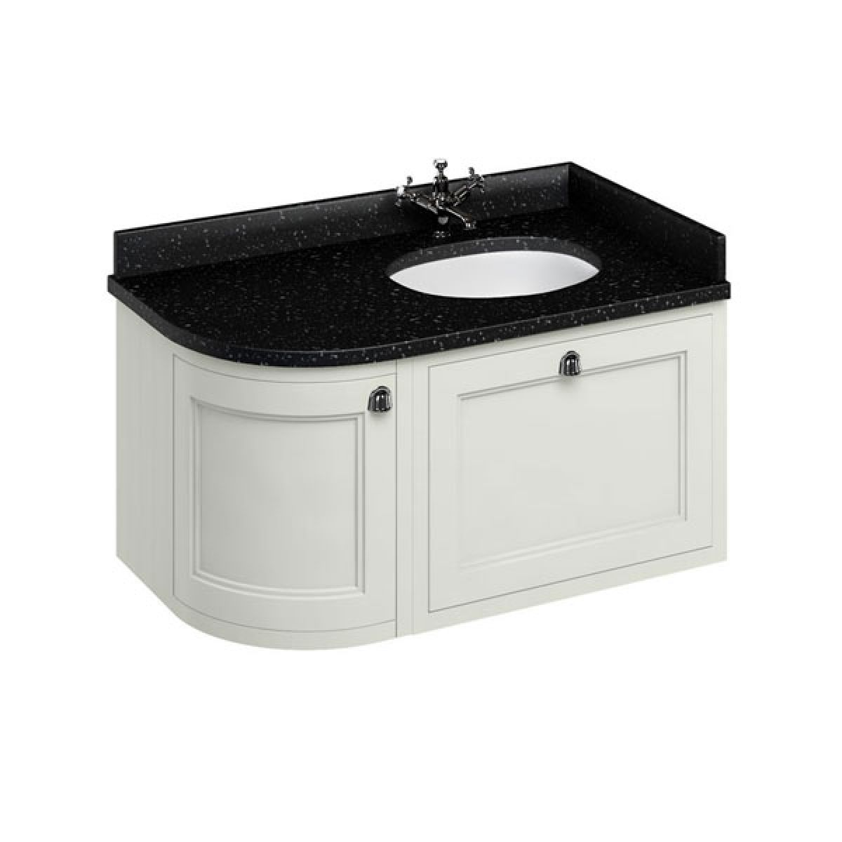 Burlington Sand Wall Hung Curved Right Hand Vanity Unit 1000mm (Black)