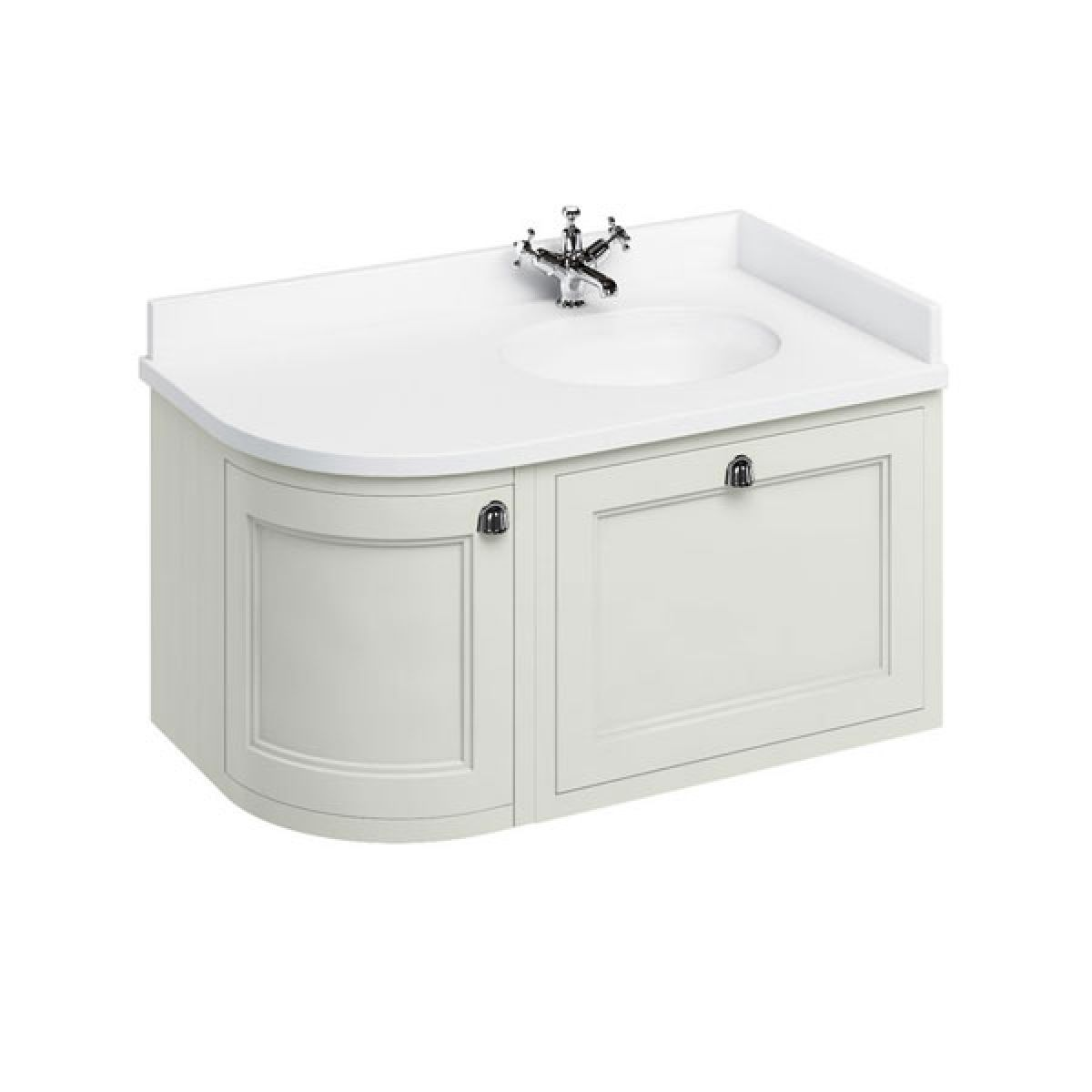 Burlington Sand Wall Hung Curved Right Hand Vanity Unit 1000mm (White)