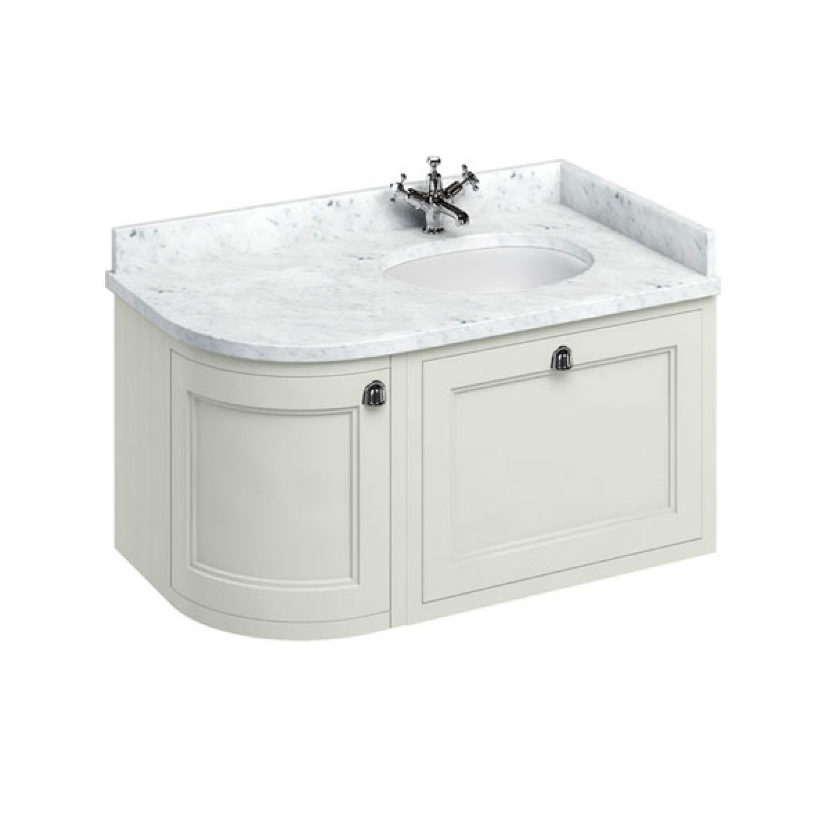 Burlington Sand Wall Hung Curved Right Hand Vanity Unit 1000mm (Carrara White)