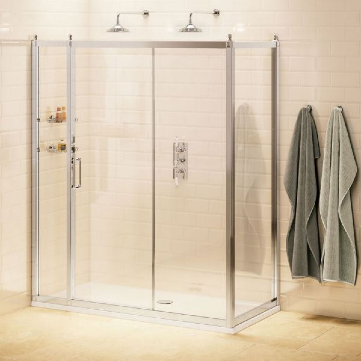 Burlington Sliding Door Shower Enclosure with Optional Inline Panel and Side Panel