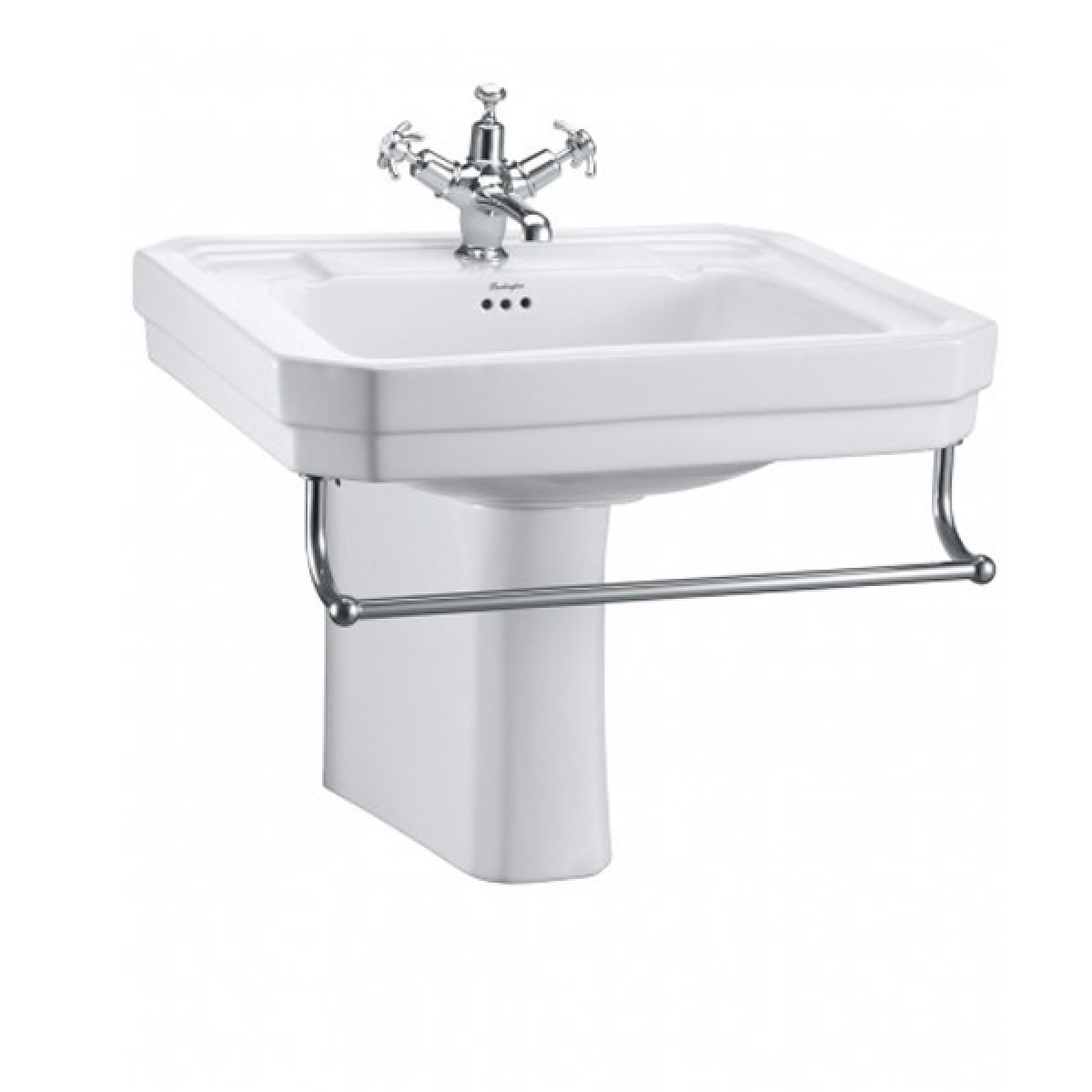Burlington Victorian Basin with Semi Pedestal and Towel Rail 610mm