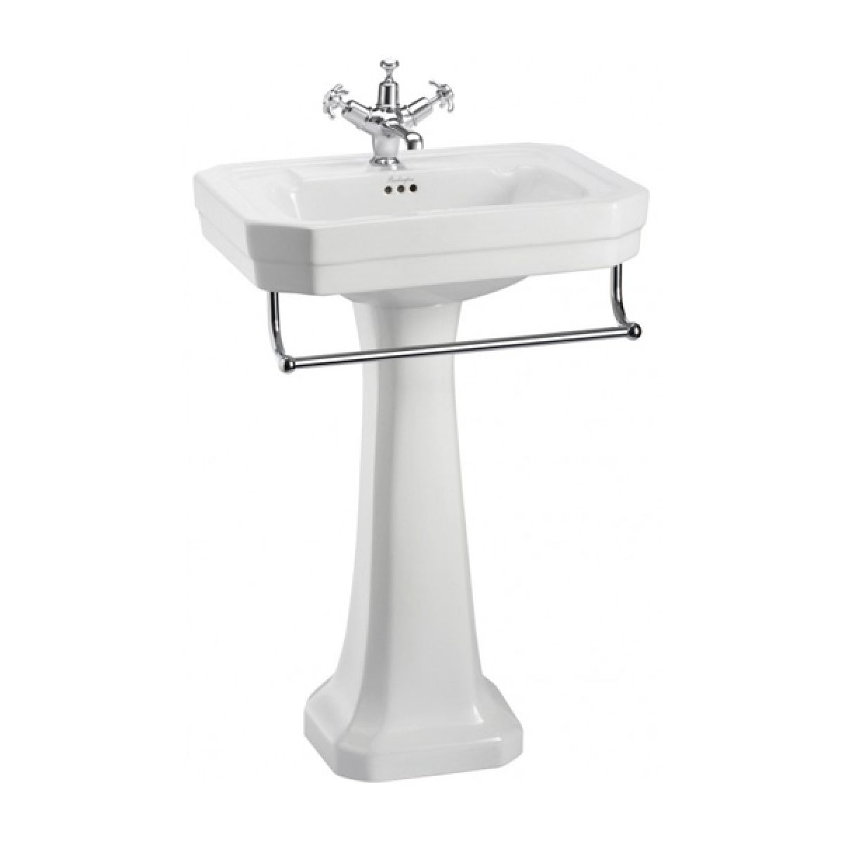 Burlington Victorian Basin with Standard Pedestal and Towel Raill 560mm