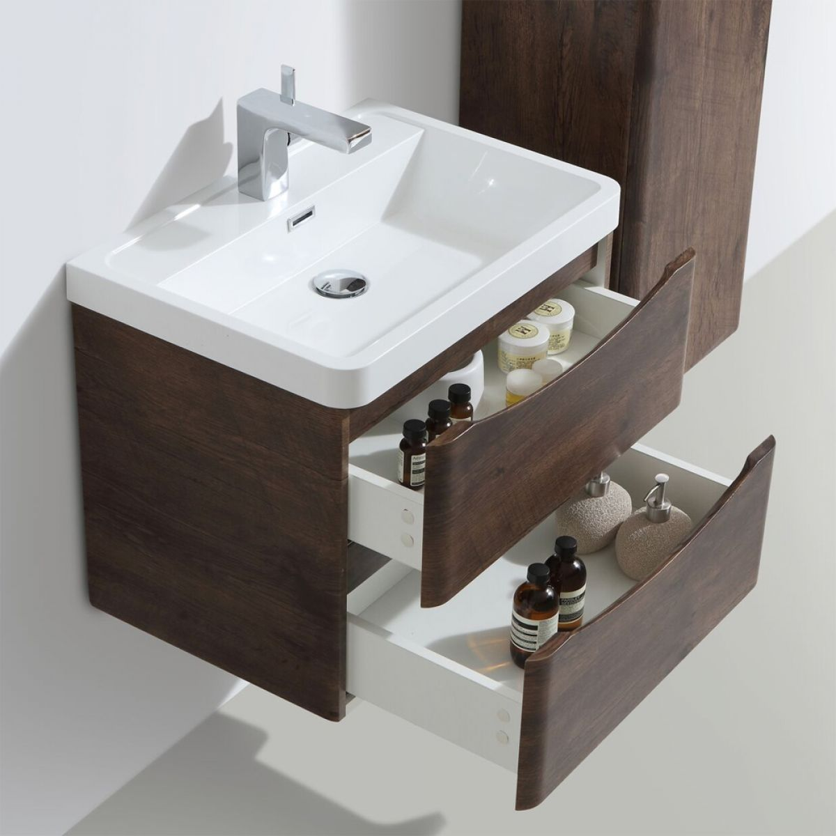 Bali Chestnut Wall Mounted Vanity Unit 600mm Lifestyle