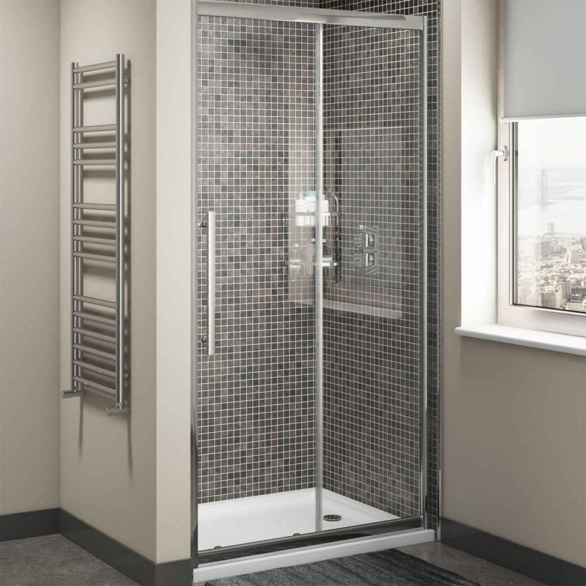 Cassellie Cass Eight Sliding Door Shower Enclosure with Optional Side Panel