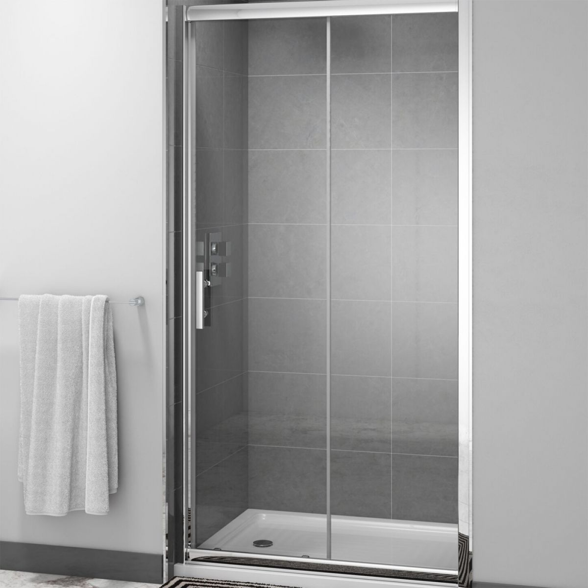 Cassellie Cass Six Sliding Shower Door with Optional Side Panel