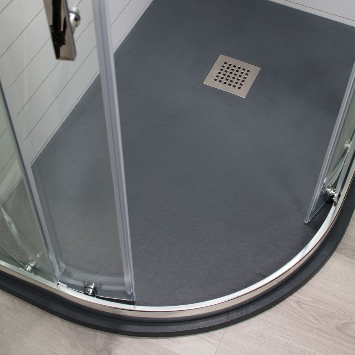 Cassellie Cass Stone Anthracite Slate Effect Offset Quadrant Shower Tray 1200 x 800mm Left Handed