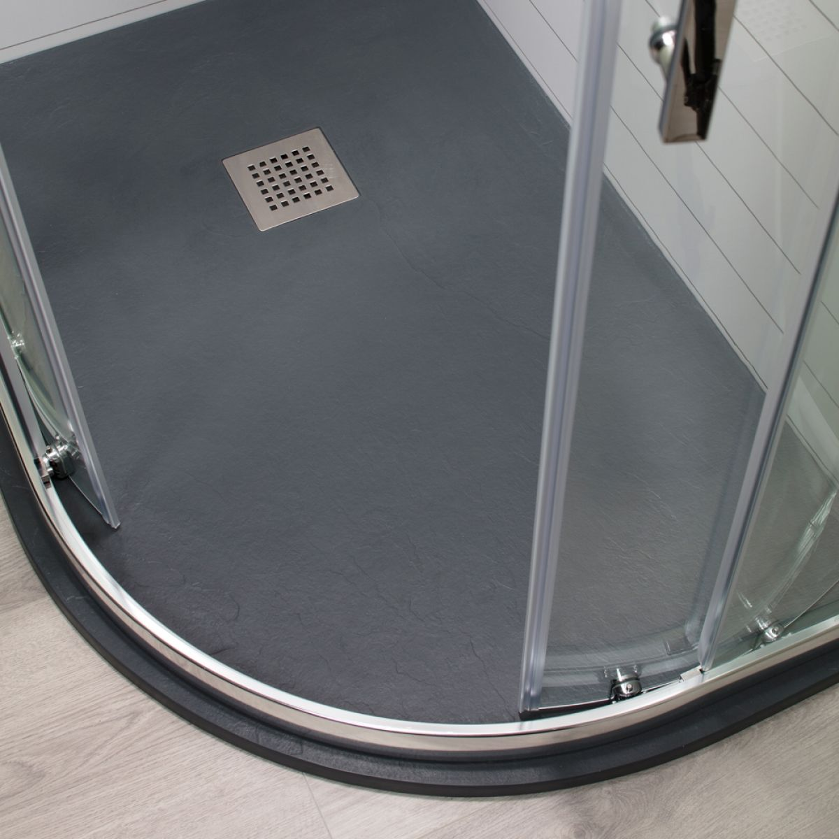 Cassellie Cass Stone Anthracite Slate Effect Offset Quadrant Shower Tray 1200 x 800mm Right Handed