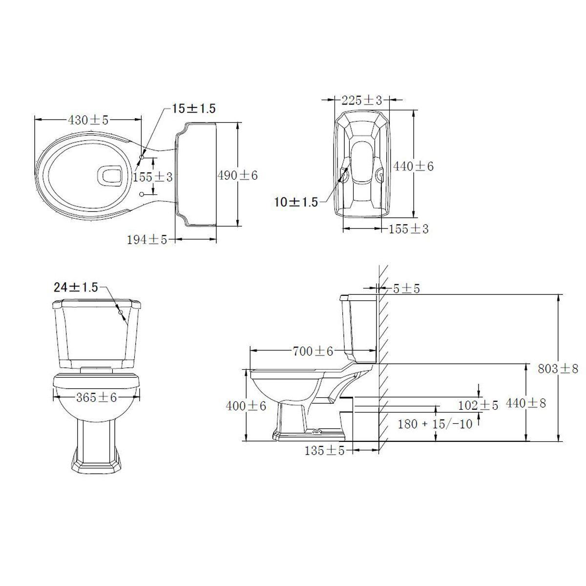 Cassellie Cromford Close Coupled Toilet Drawing