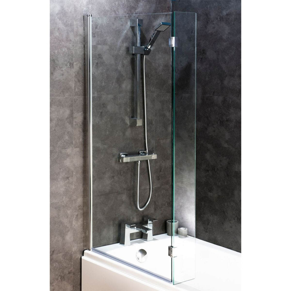 Cassellie Square Bath Screen with Flipper Panel