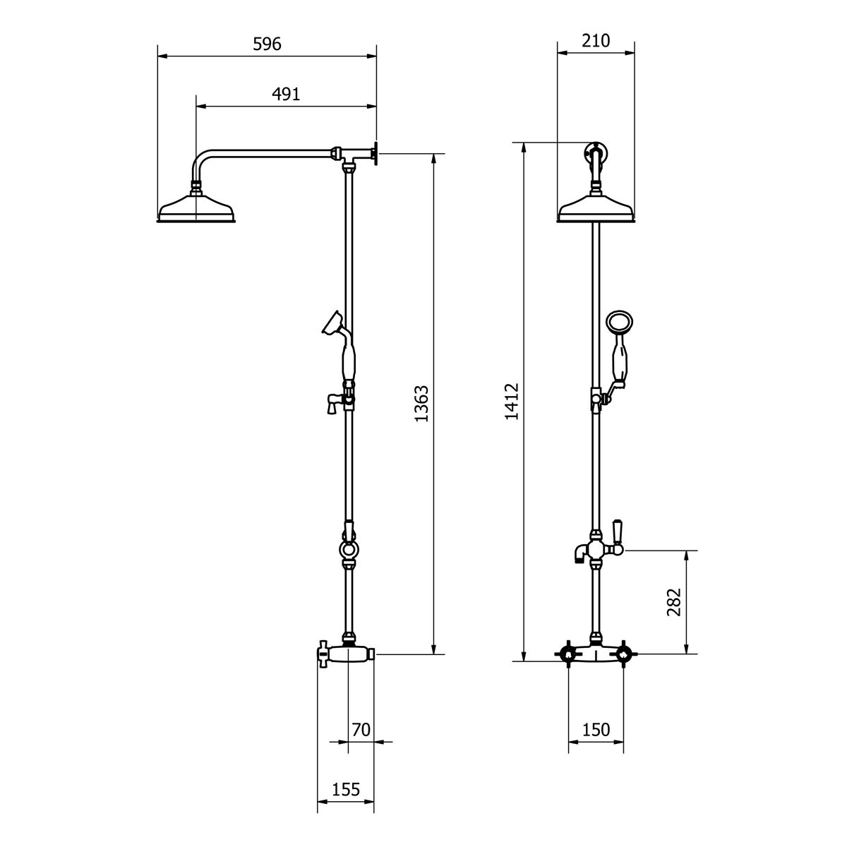 Cassellie Damson Traditional Rigid Riser Shower Kit Drawing