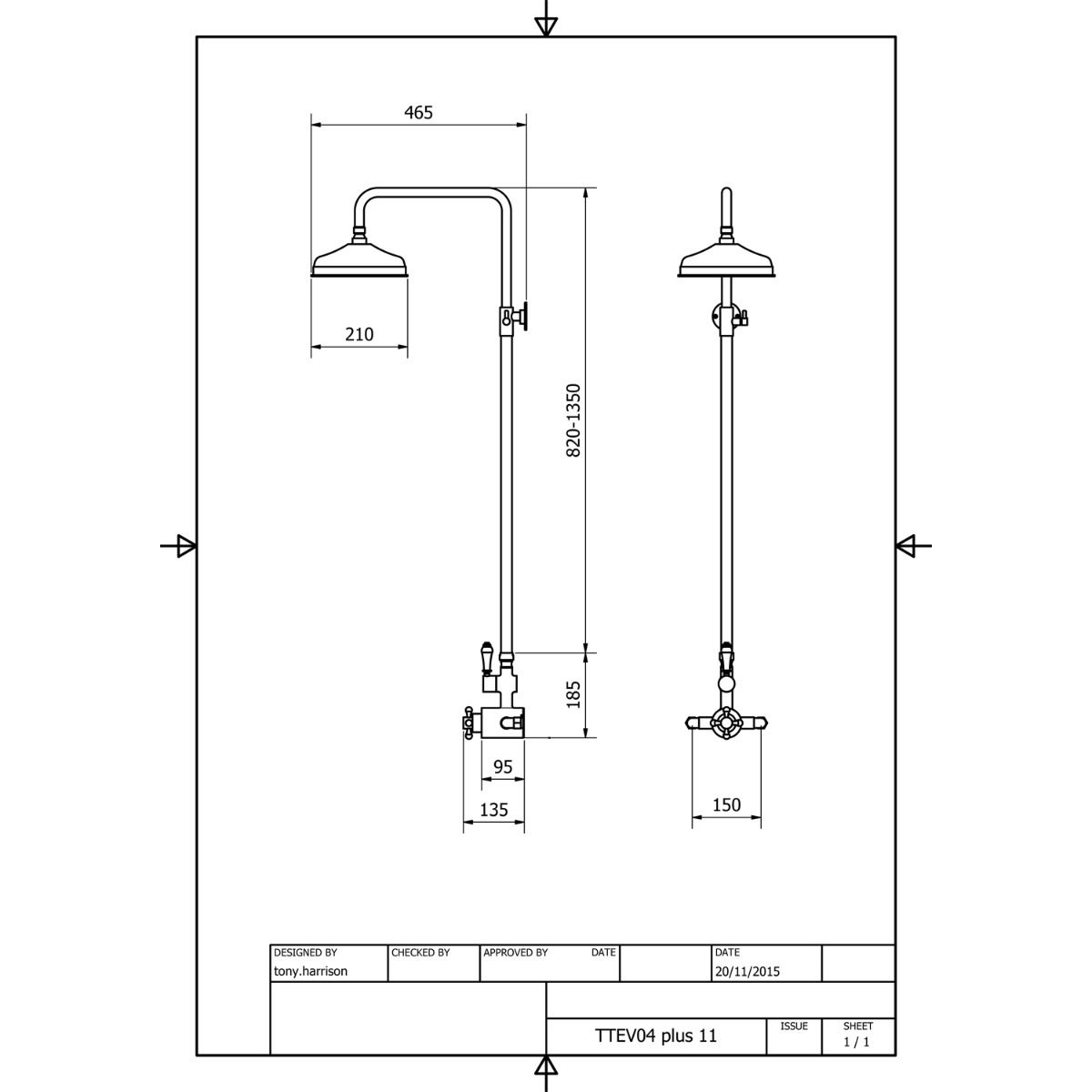 Picture of: Cassellie Deluge Traditional Rigid Riser Shower Kit