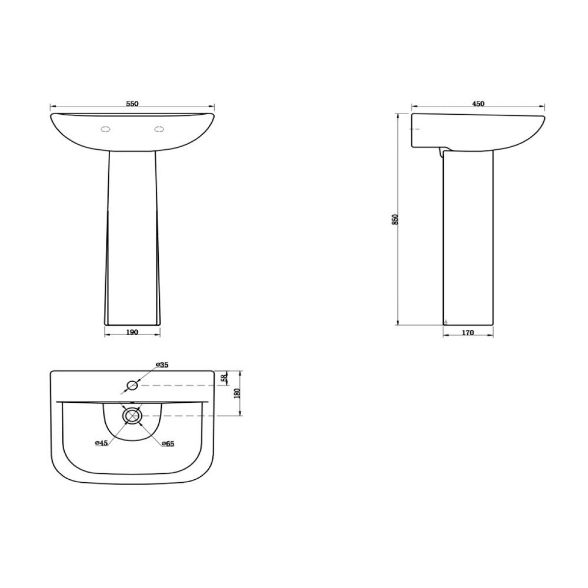 Cassellie Fair Basin with Full Pedestal Drawing