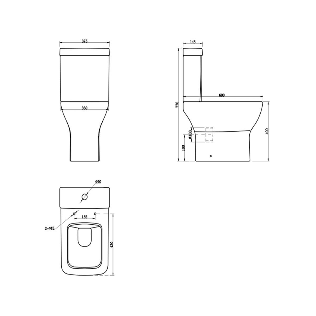 Cassellie Fair Close Coupled Toilet Drawing