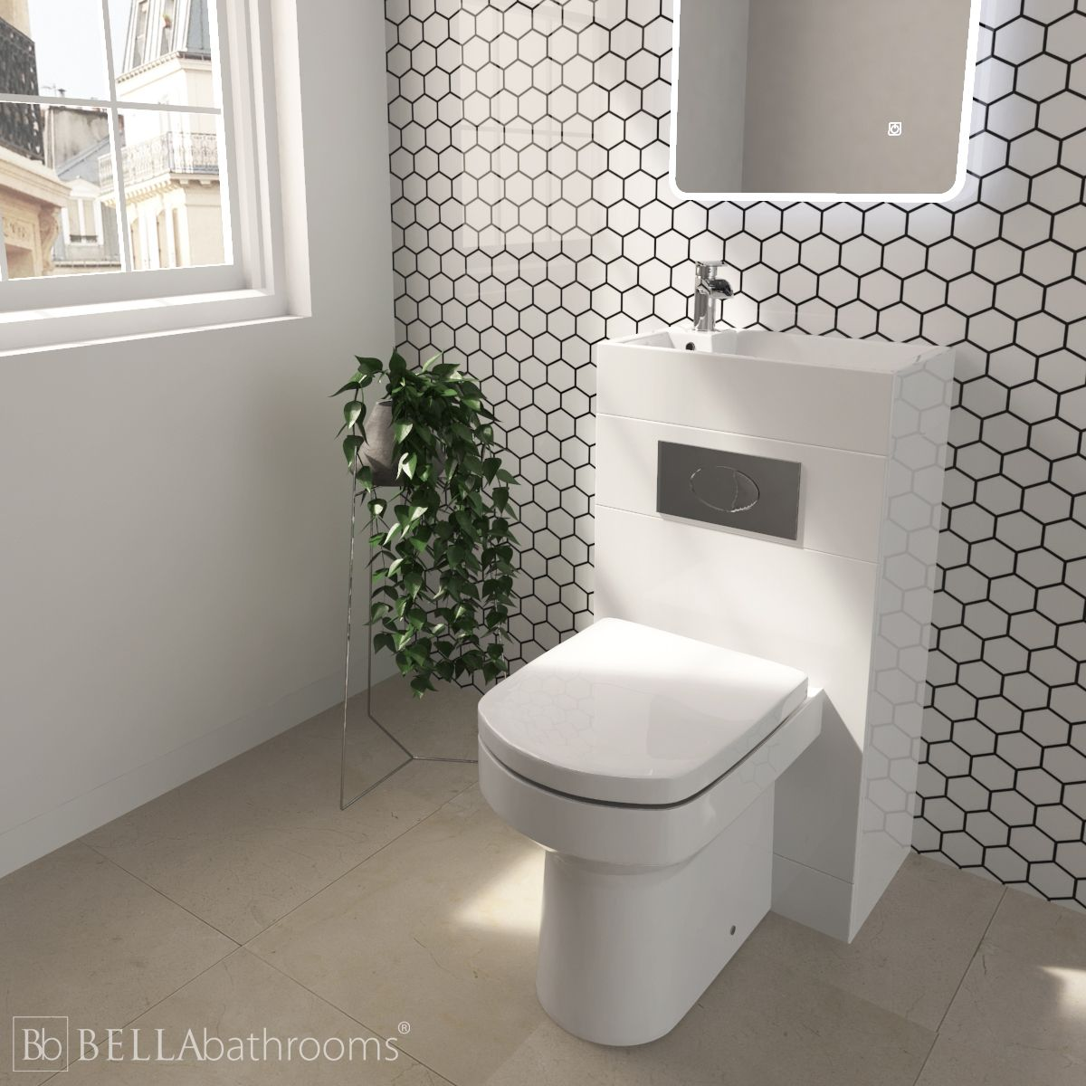 Cassellie Futura Gloss White Space Saving Toilet with Sink on Top 500mm