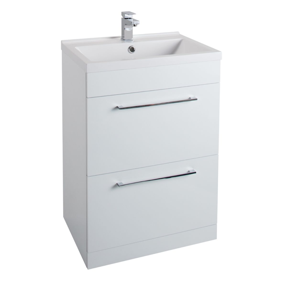 Cassellie Idon Gloss White 2 Drawer Vanity Unit with 600mm