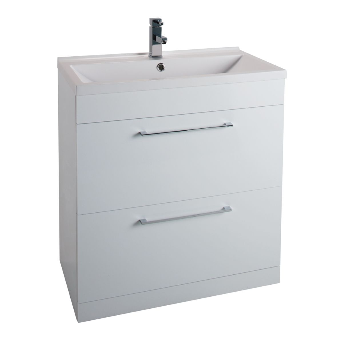Cassellie Idon Gloss White 2 Drawer Vanity Unit with Basin 800mm