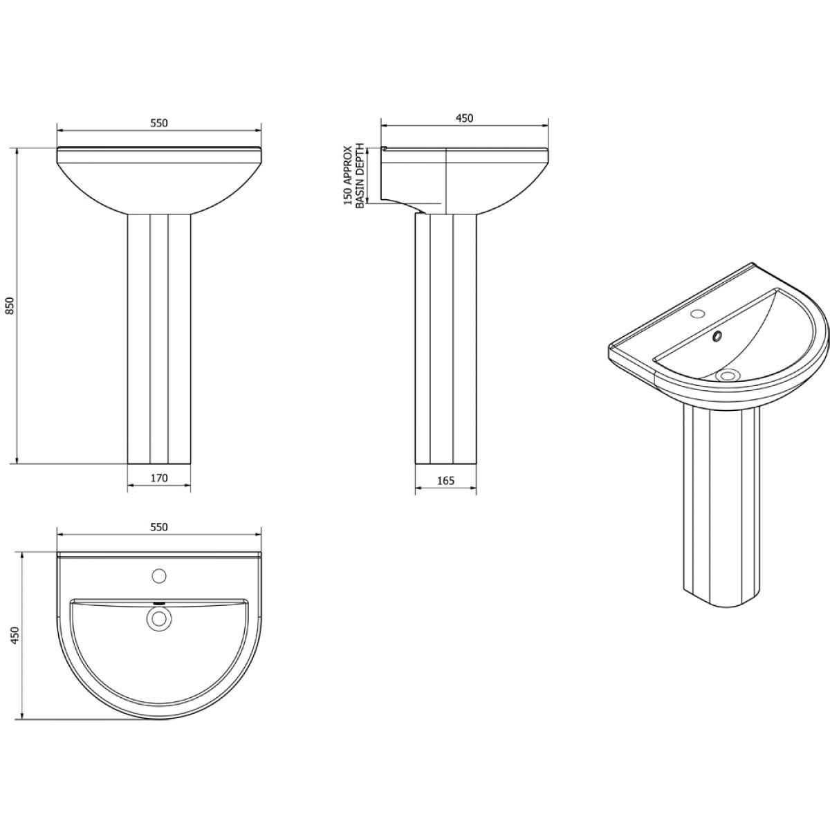 Cassellie Ivo 1 Tap Hole Basin with Full Pedestal Drawing
