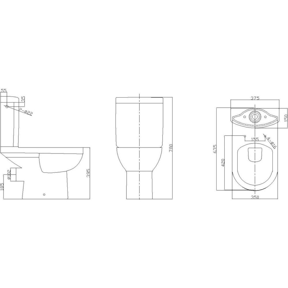 Cassellie Ivo Close Coupled Toilet Drawing
