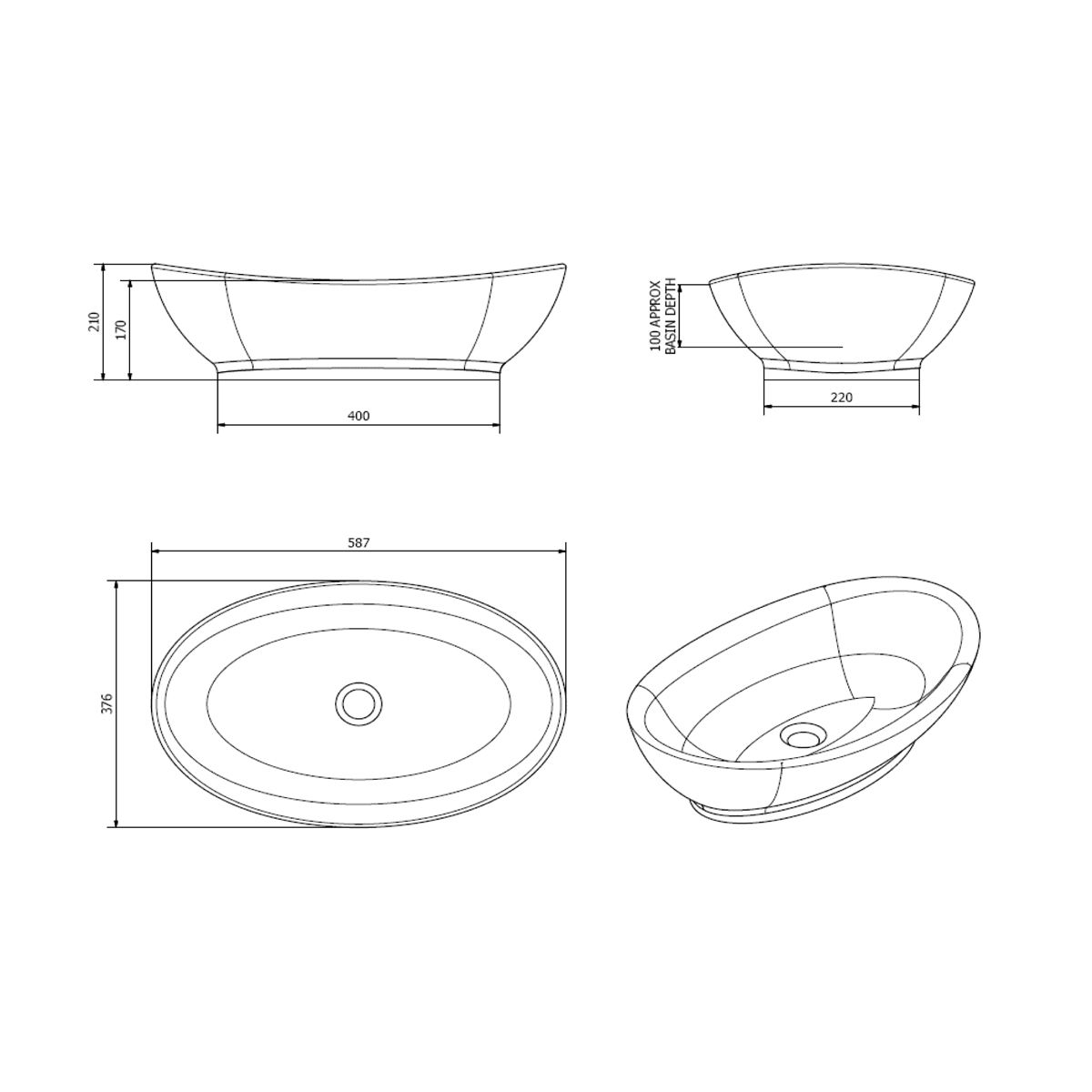 Cassellie Oval Countertop Basin 580mm Dimensions