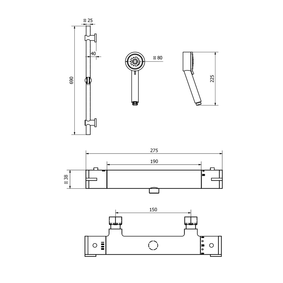 Cassellie Round Thermostatic Bar Valve & Slide Rail Kit Drawing