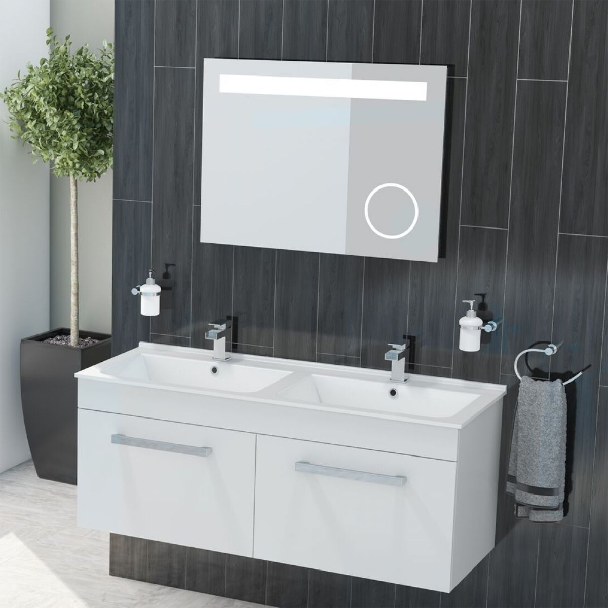 Cassellie Slimline Gloss White Wall Hung Dual Vanity Unit 1250mm Lifestyle