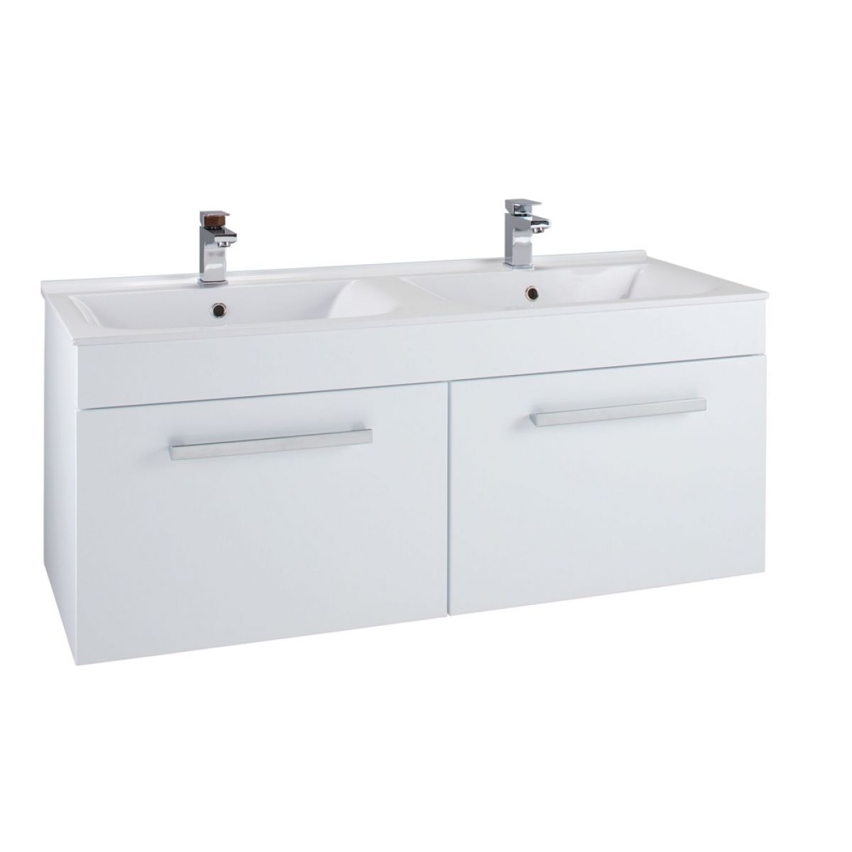 Cassellie Slimline Gloss White Wall Hung Dual Vanity Unit 1250mm