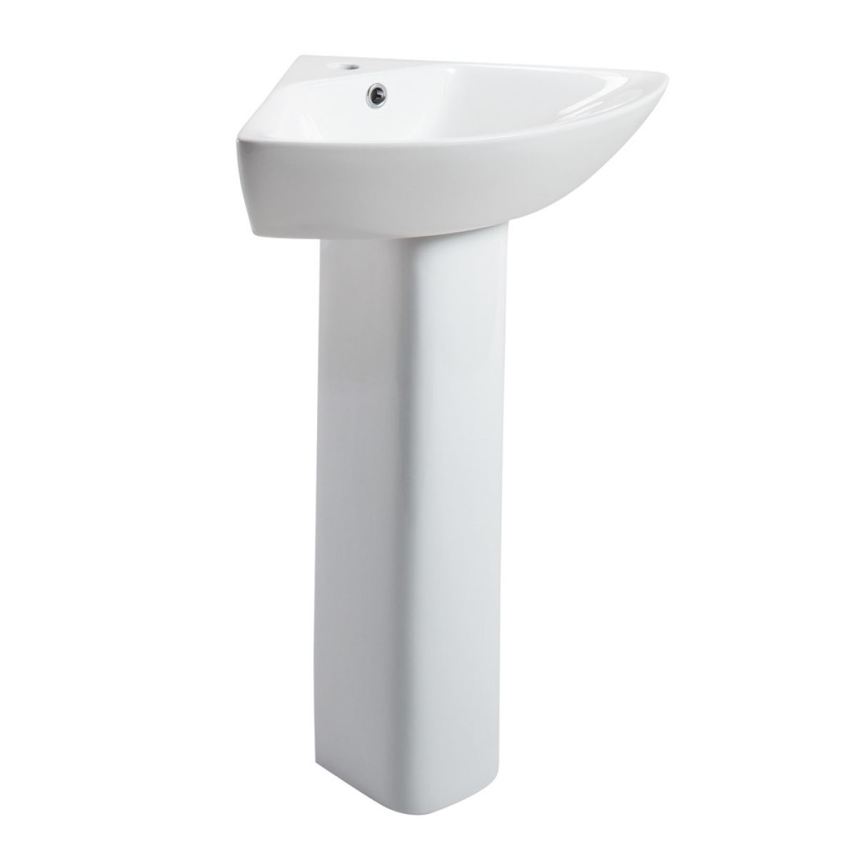 Cassellie Spek 1 Tap Hole Corner Basin with Full Pedestal