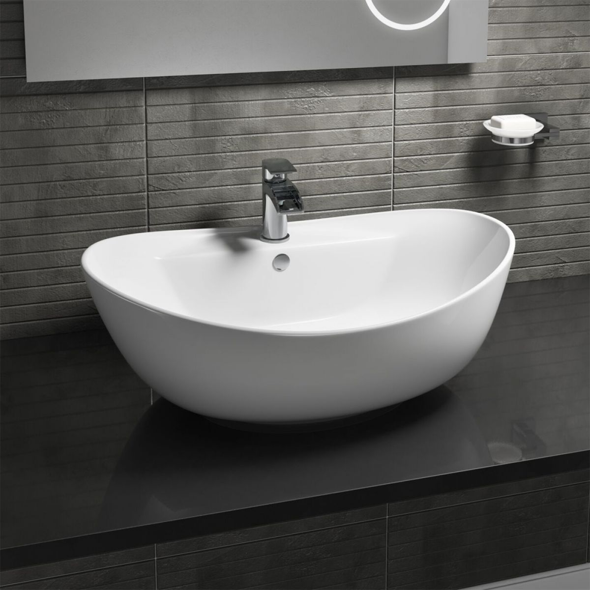 Manhattan Oval 1 Tap Hole Countertop Basin 600mm
