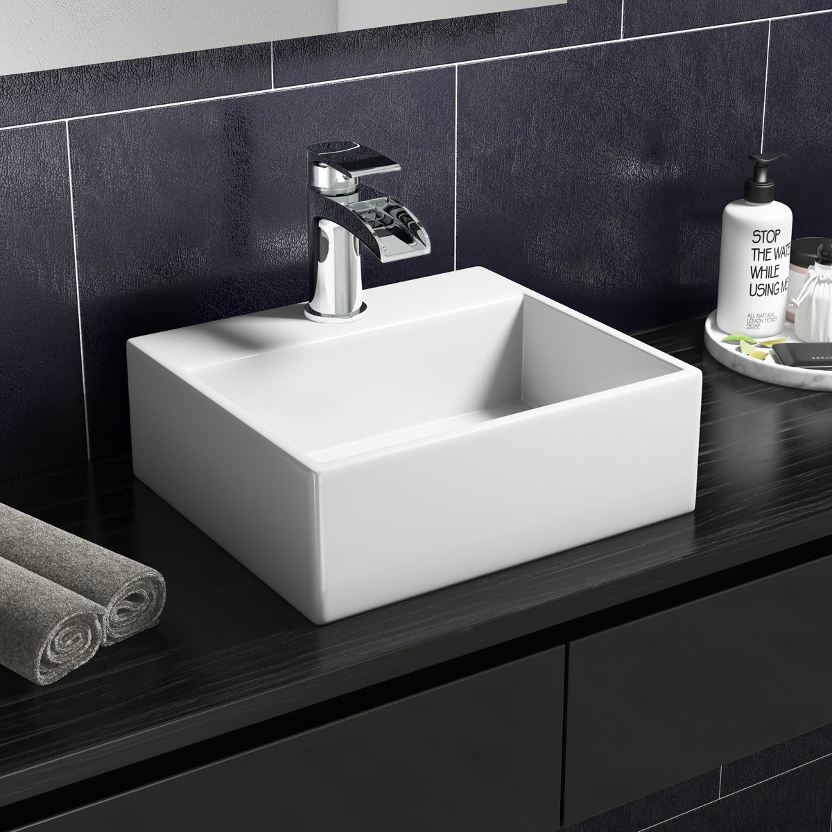 Cassellie 1 Tap Hole Wall Hung Cloakroom Basin 330mm Lifestyle