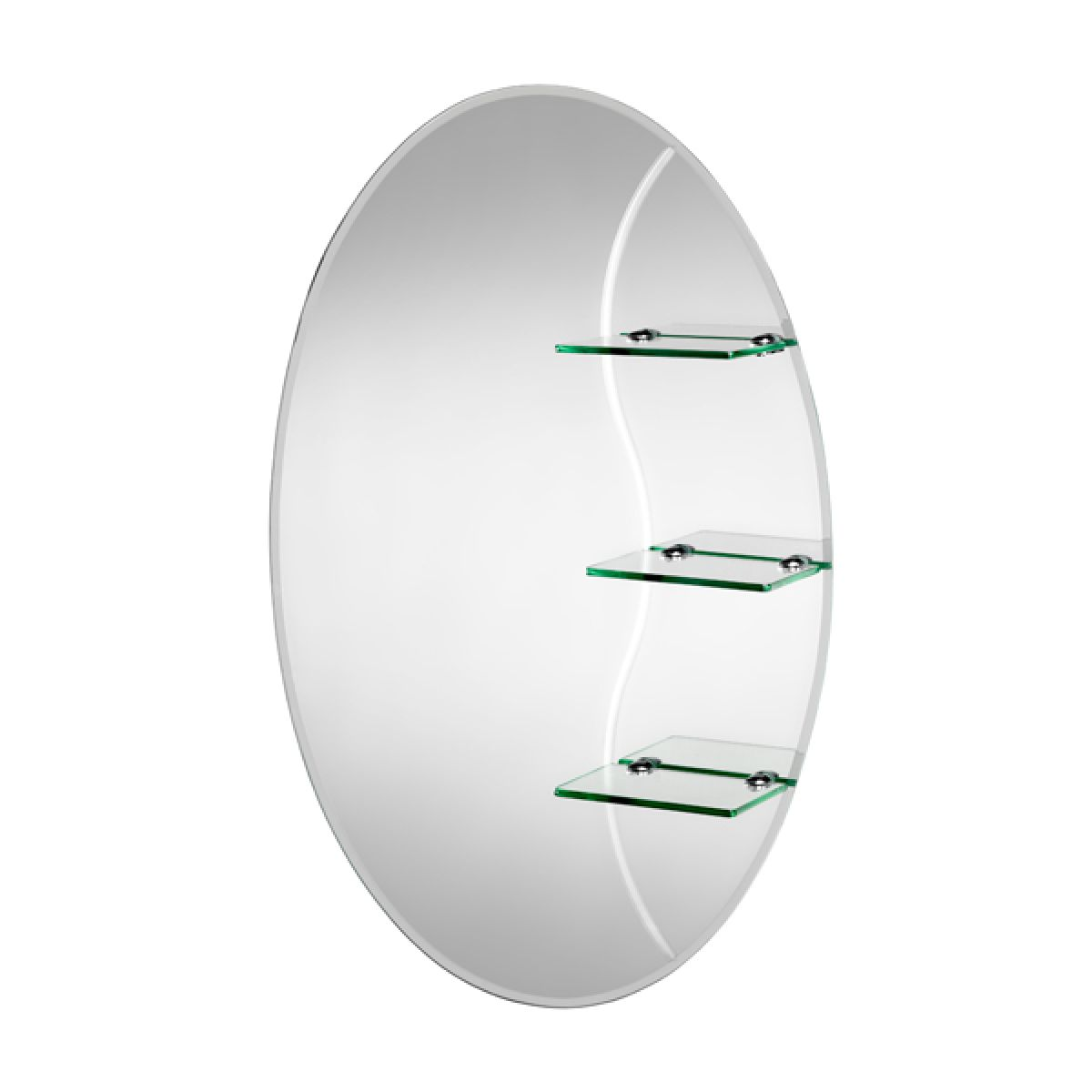 Croydex Coniston Oval Mirror with Shelves