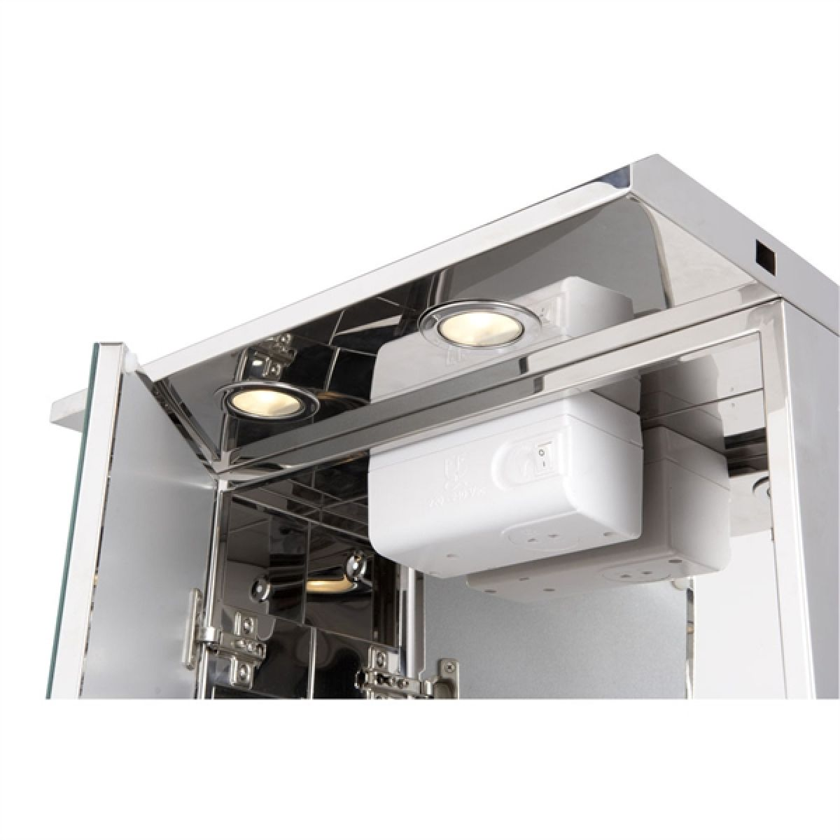 Croydex Shire Stainless Steel Double Door Illuminated Cabinet Detail