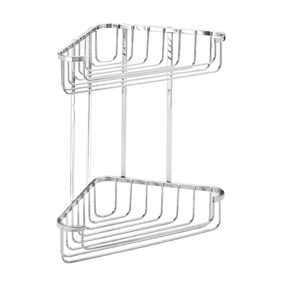 Croydex Stainless Steel Large Two Tier Corner Basket